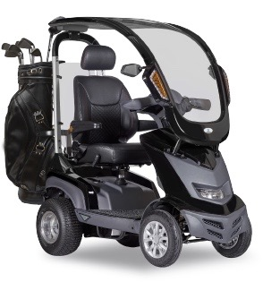 golf bag carrier attached to Heartway Golf Mobility scooter