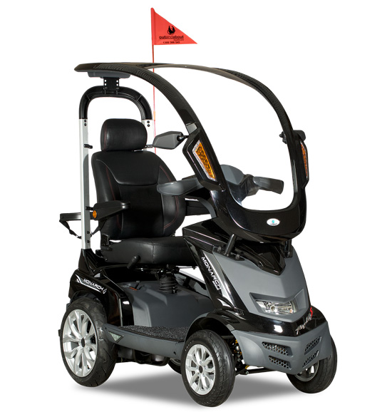 golf mobility scooter with flag holder