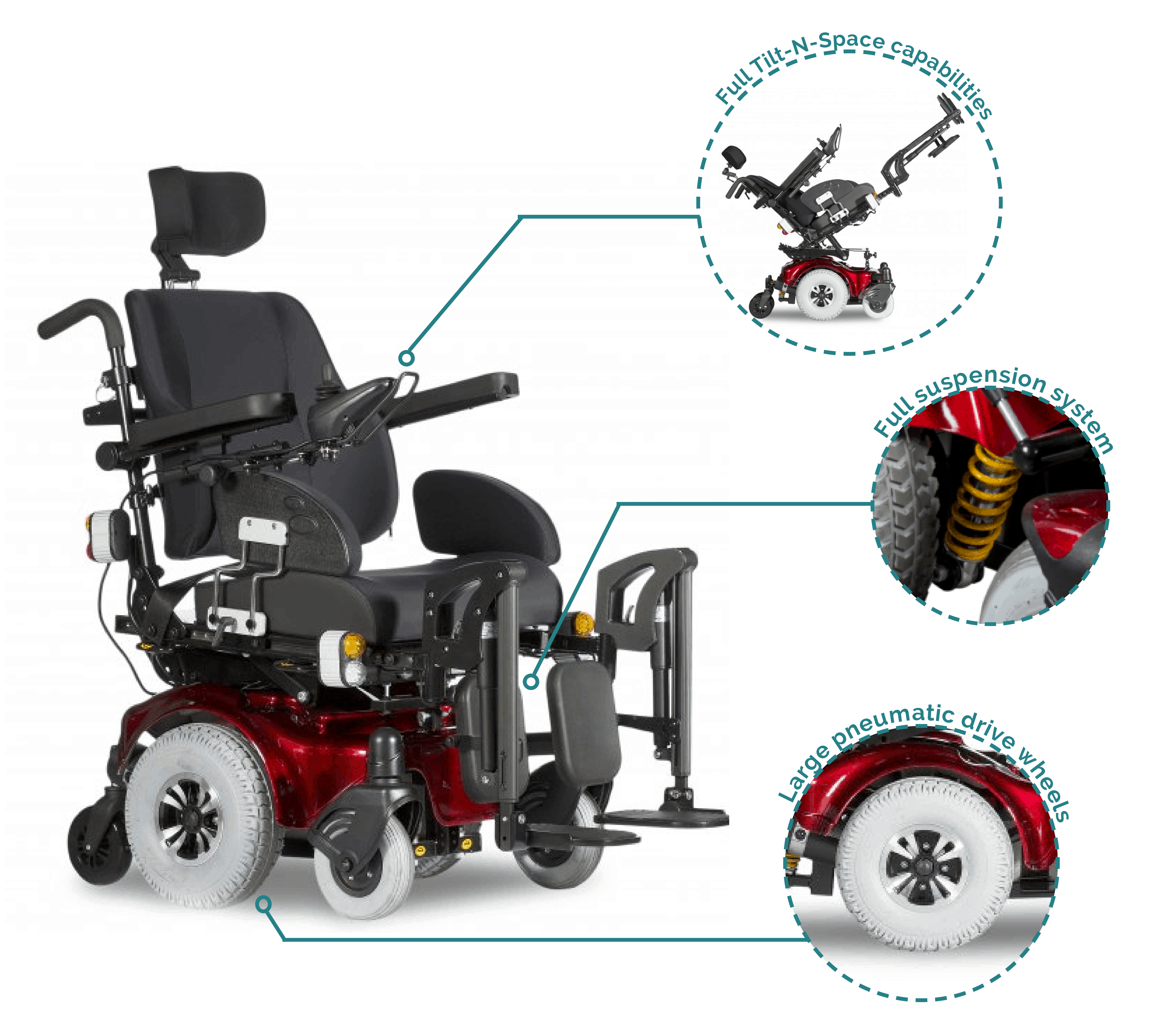 Heartway Allure (HP6RT) Tilt-N-Space Electric Wheelchair